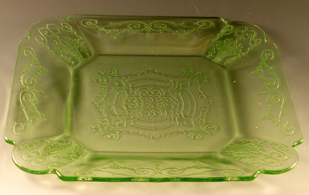 Lorain Basket Green Depression Glass Lunch Plate