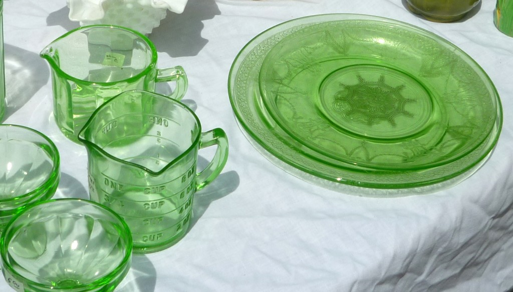 Cameo Green and Georgian Green Depression Glass Plates