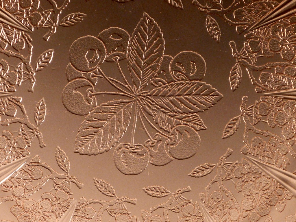 Cherry Blossom Pink Depression Glass Close Up of Real Leaves