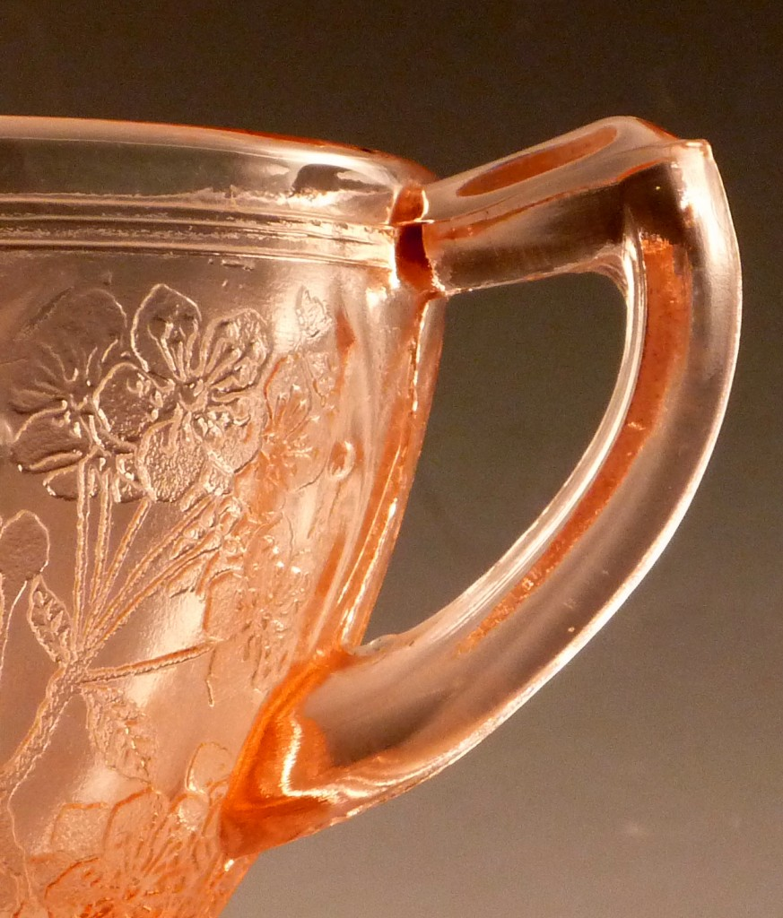 Cherry Blossom Pink Cup Handle Detail Real Depression Glass