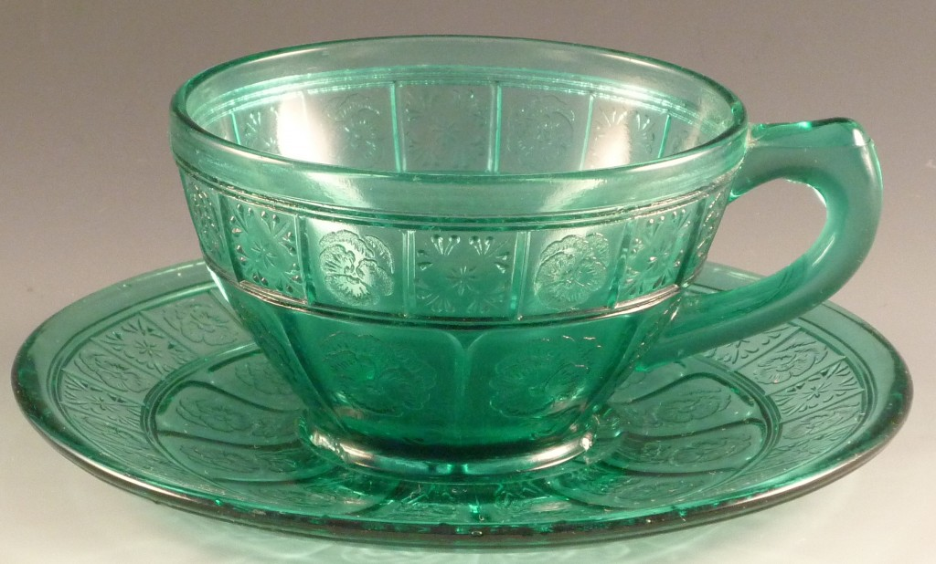 Doric and Pansy Utramarine Cup and Saucer Teal Depression Glass