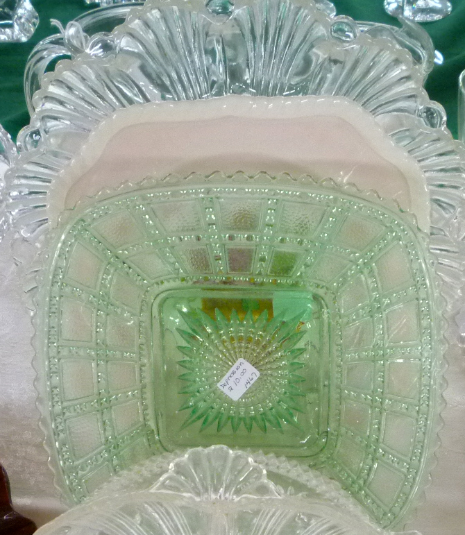 Imperial Beaded Block Green Depression Glass Plate