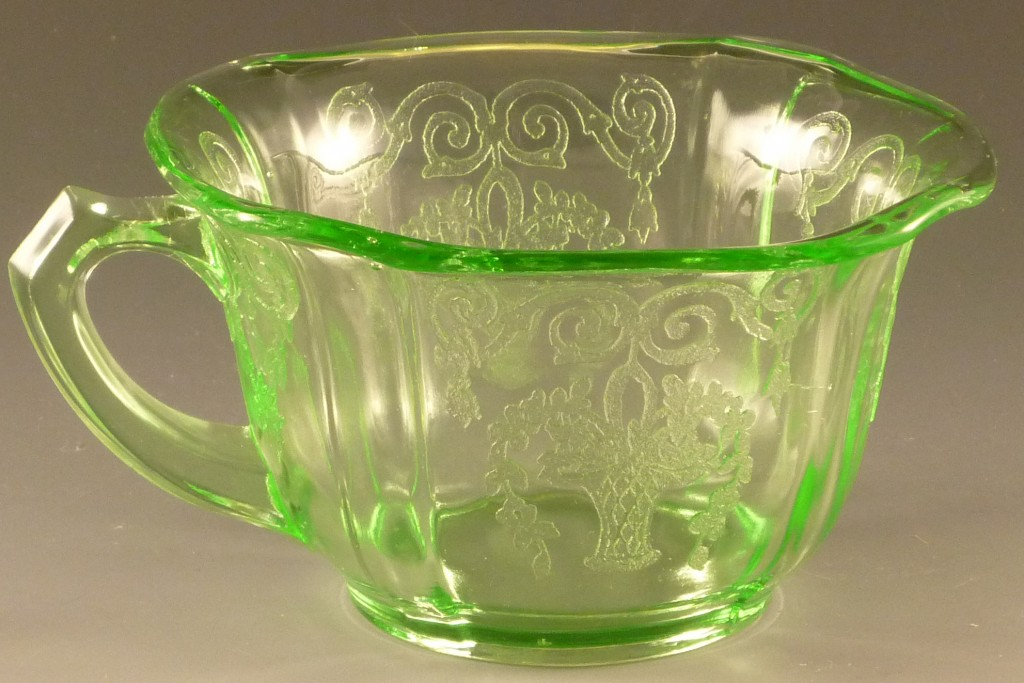 Lorain Green Depression Glass Cup from Indiana Glass