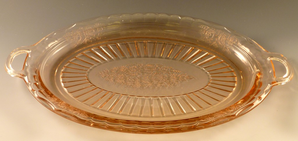 Mayfair Open Rose Pink Depression Glass Oval Platter