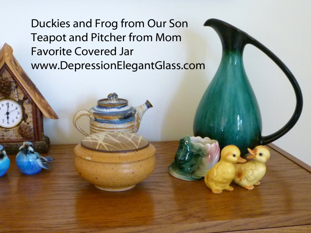 Mom's Teapot and Pitcher, Ducks and Frog