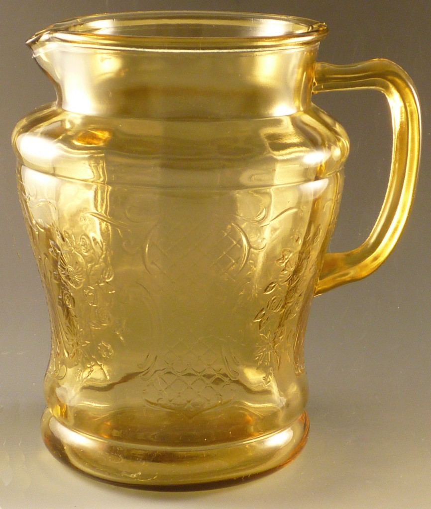 Normandie Amber Depression Glass Pitcher Bouquet and Lattice