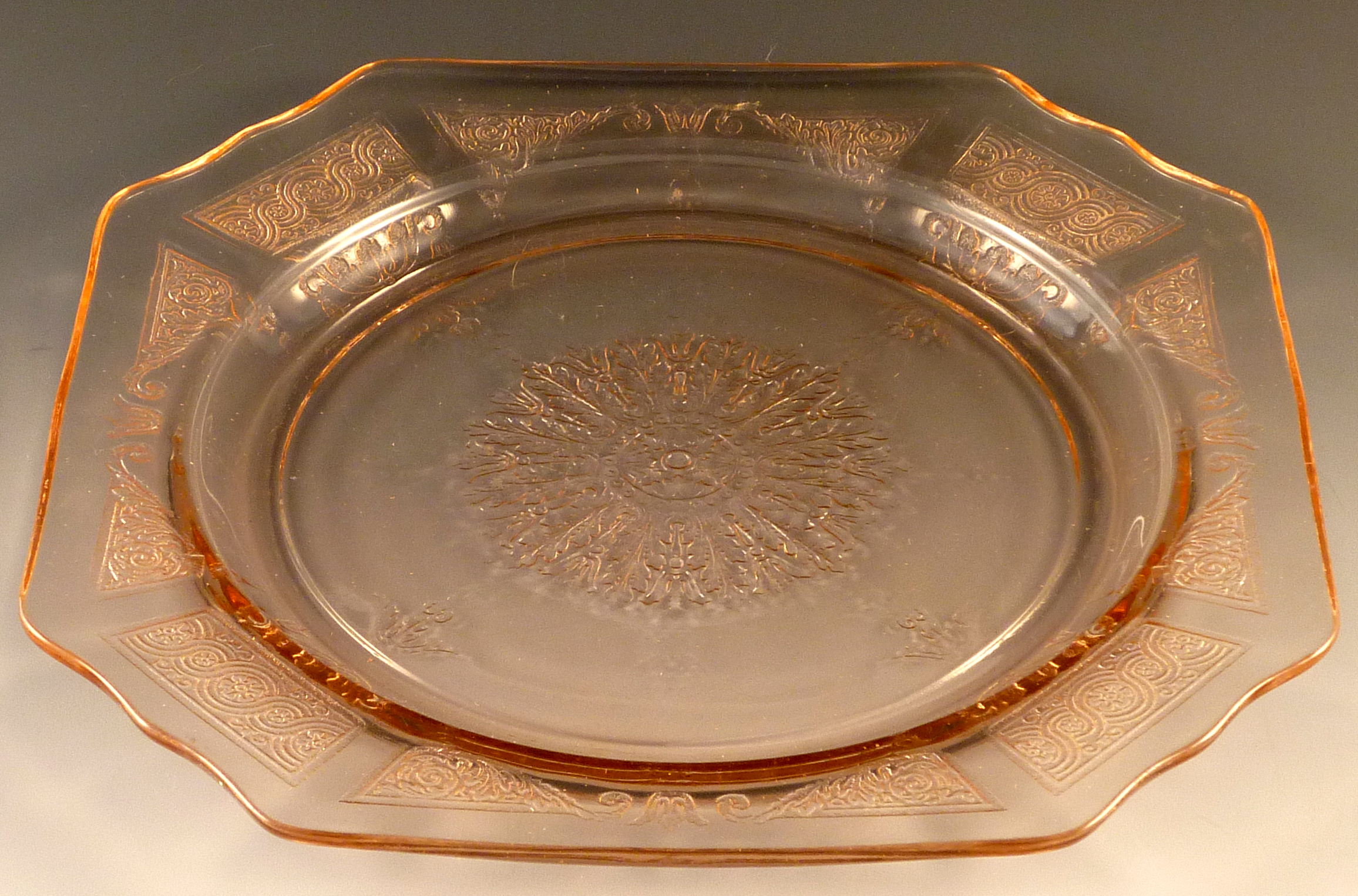 Princess Pink Depression Glass 8 7/8 Inch Dinner Plate Purchased on Craigslist & Three Tips to Shop Craigslist for Depression Glass
