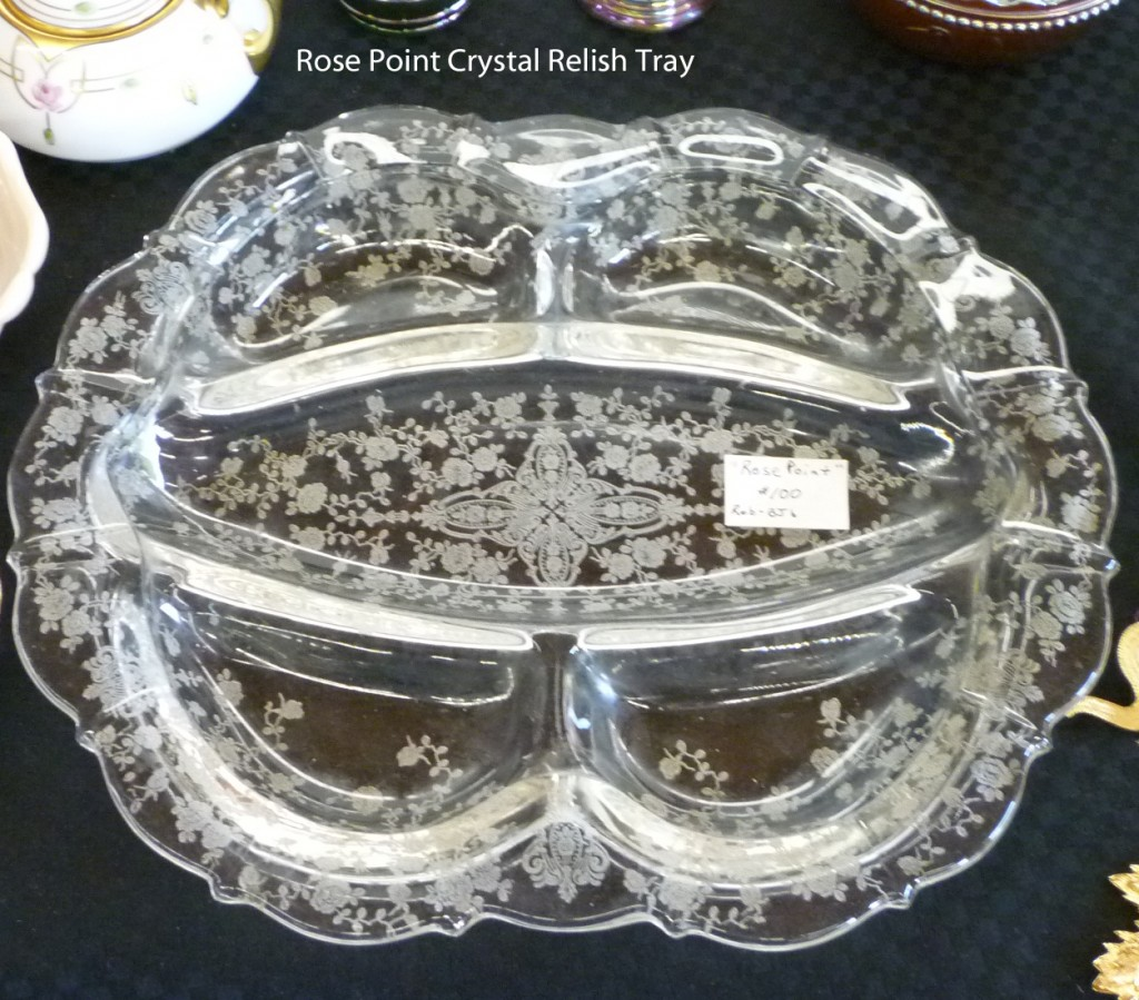 Cambridge Rose Point Etched Crystal Relish Tray