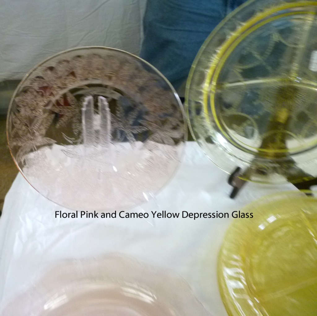 Floral Poinsettia Pink and Cameo Yellow Depression Glass