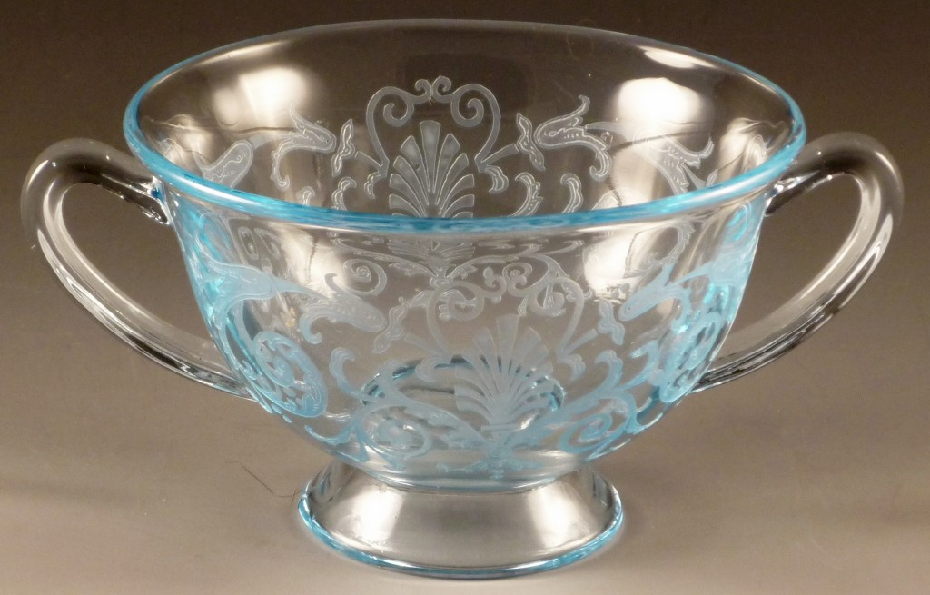 Fostoria Versailles Blue Footed Bouillon Cup Elegant Glass