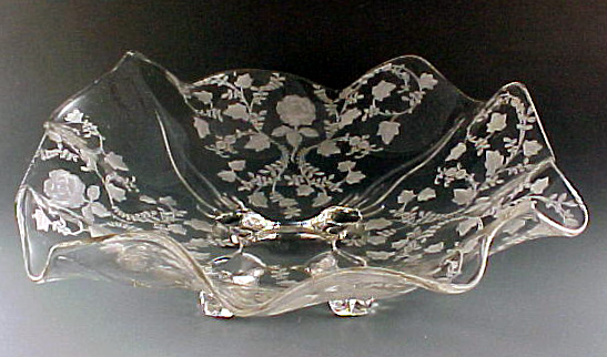 Cambridge Glass Roselyn Etched Footed Ruffled Bowl