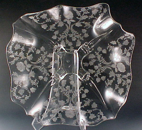 Cambridge Glass Roselyn Etched Crystal Ruffled Bowl