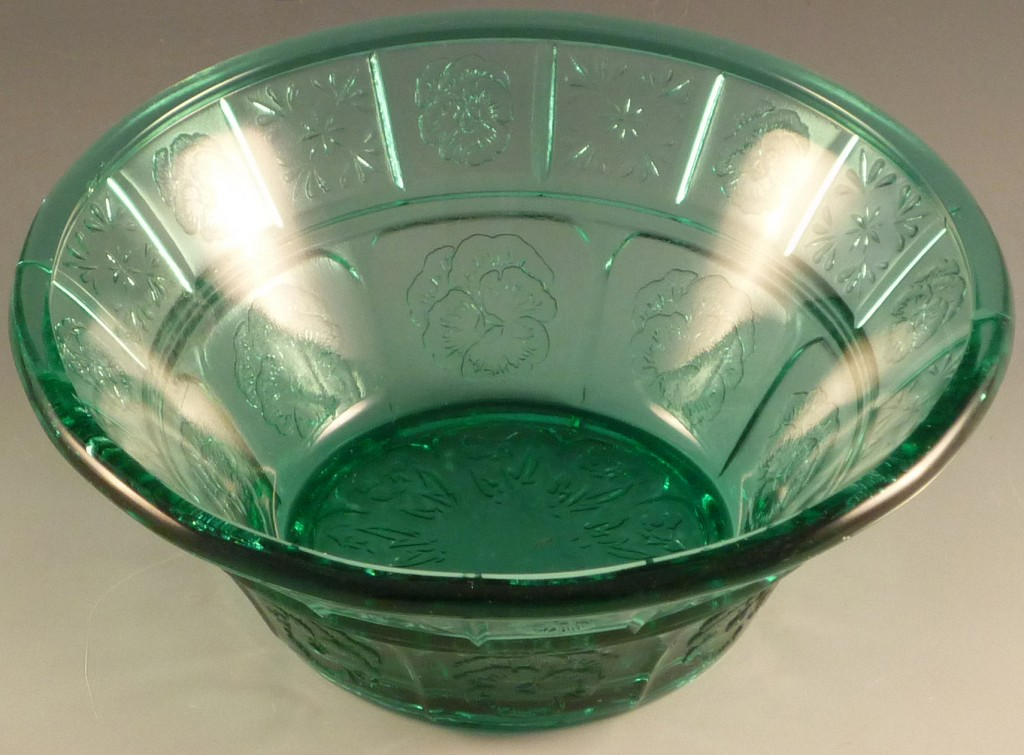Deression Glass - Doric and Pansy Ultramarine Teal Berry Bowl