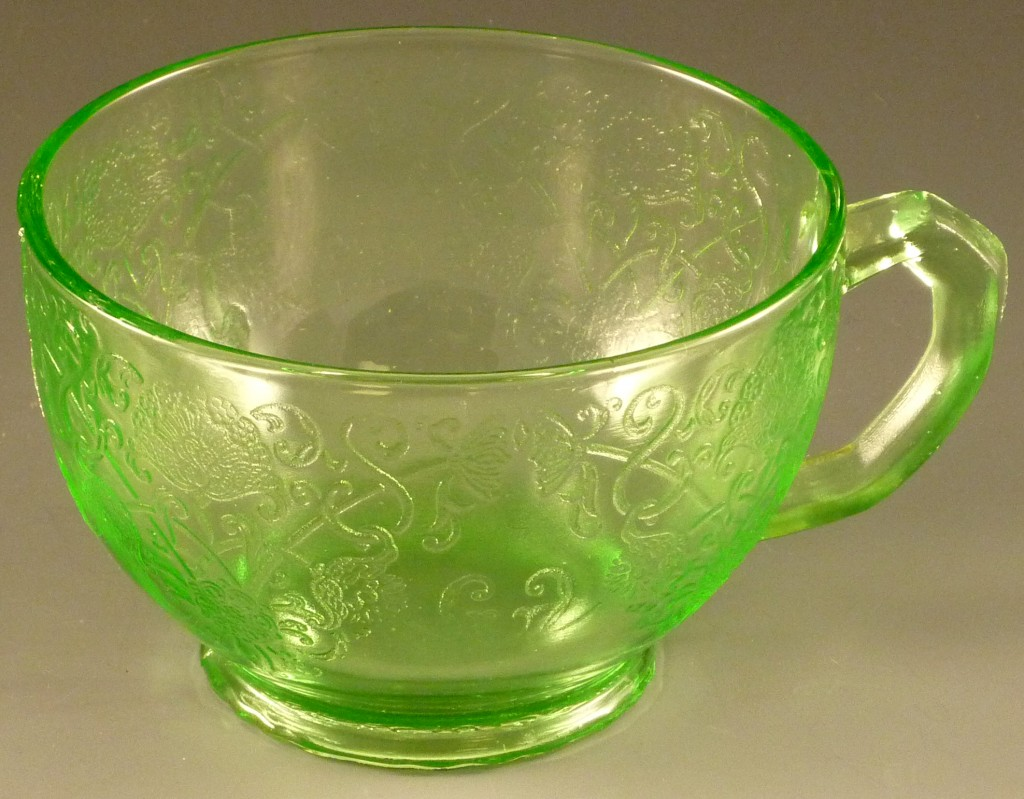 Florentine Poppy #1 Green Depression Glass Cup