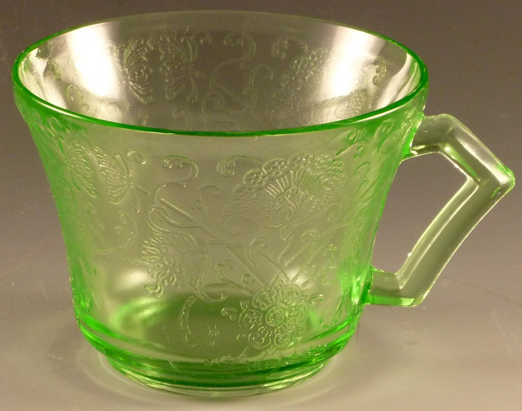 Florentine Poppy #2 Green Depression Glass Cup