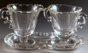 Practical, Pretty and Cute!  Fostoria Century Creamer and Sugar on a Tray Set
