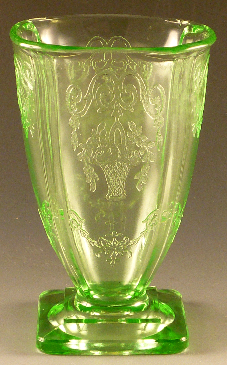 Basket motifs and designs on mold etched depression glass lorain green depression glass footed tumbler from indiana reviewsmspy