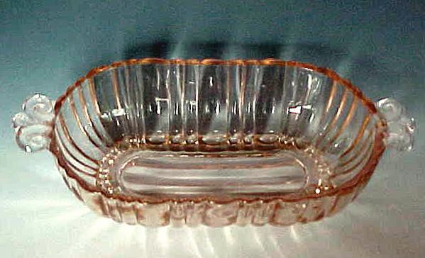 Old Cafe Pink Depression Glass Two Handled Olive Dish