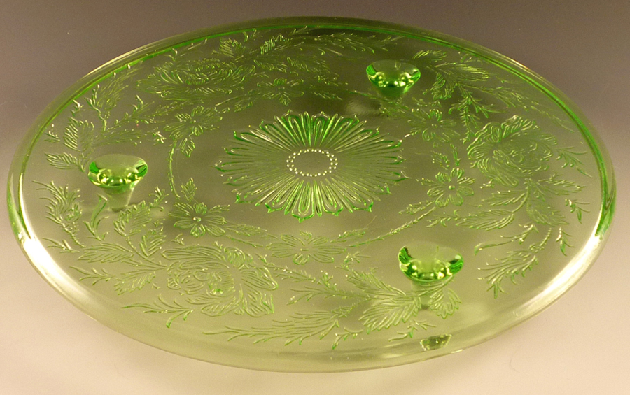 Shaggy Rose Green Depression Glass Cake
