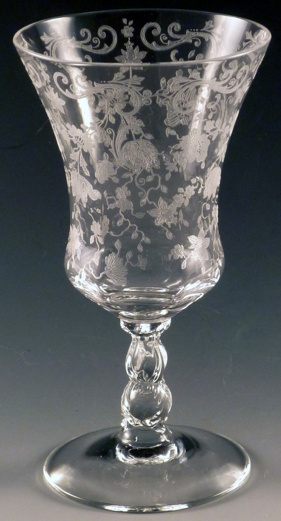 Cambridge Glass Chantilly Etched Crystal Stemmed Juice Tumbler