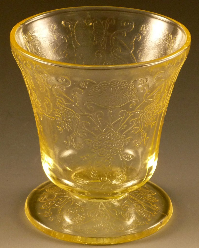 Florentine 2 Yellow Footed Juice Depression Glass Hazel Atlas