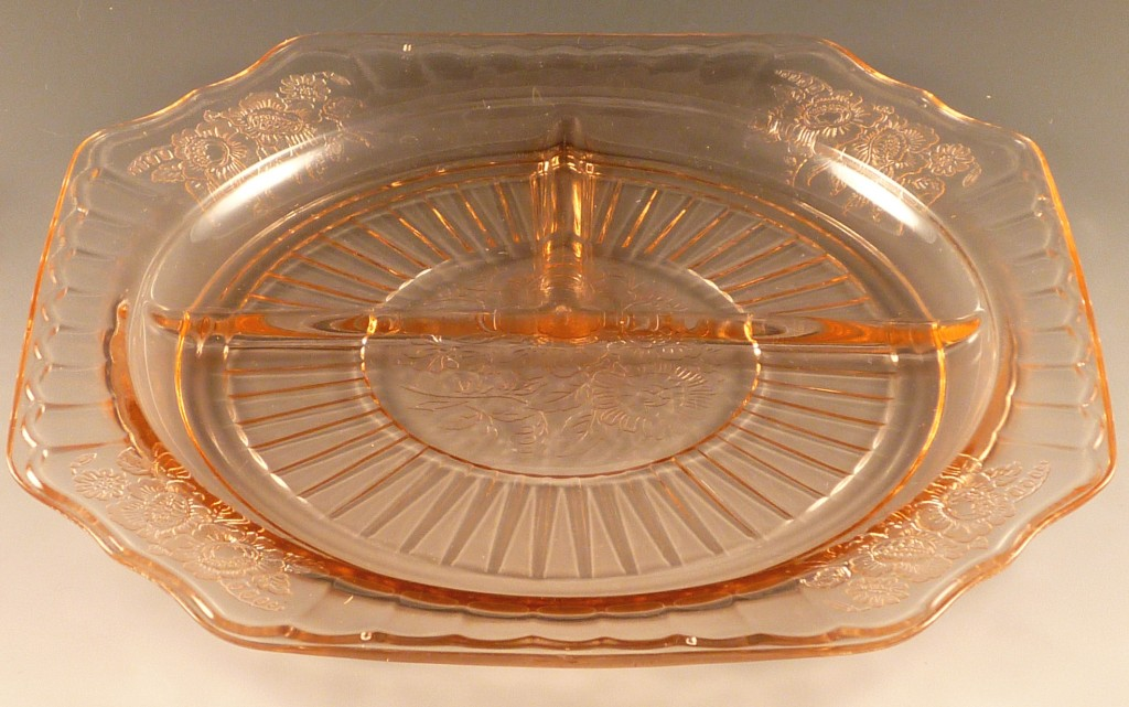 Mayfair Open Rose Pink Depression Glass Grill Plate