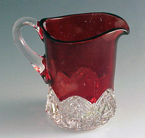 Banded Heart Creamer with Ruby Stain
