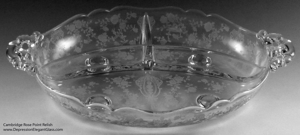 Cambridge Rose Point Etched Crystal Relish Dish