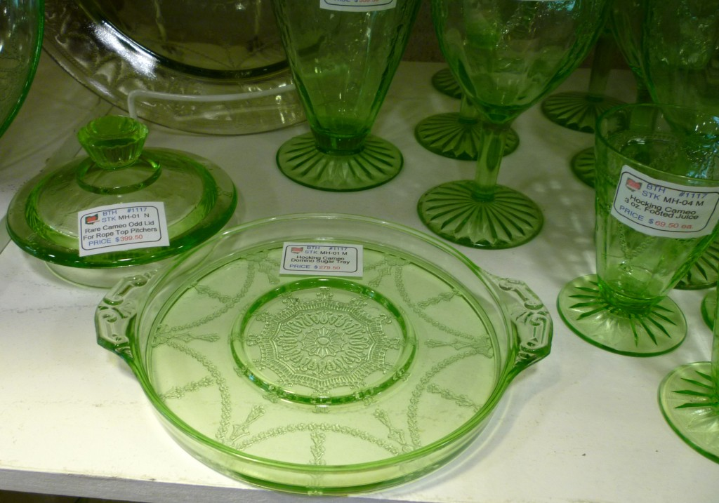 Cameo Domino Tray and Footed Tumblers