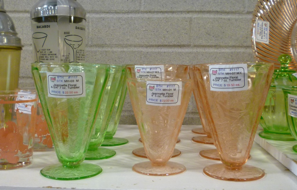 Floral Poinsettia Green and Pink Depression Glass Footed Tumblers from Jeannette