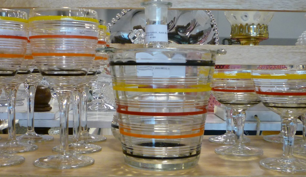 Hocking Banded Ring Ice Bucket and Goblets