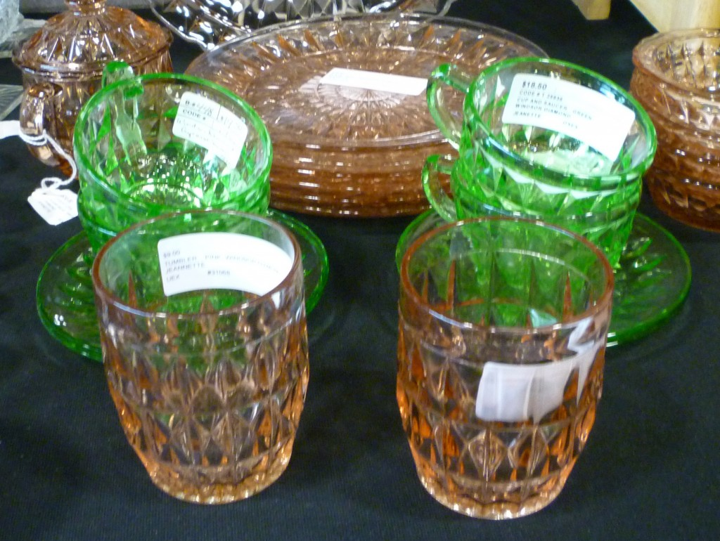 Jeannette Windsor Pink and Green Depression Glass