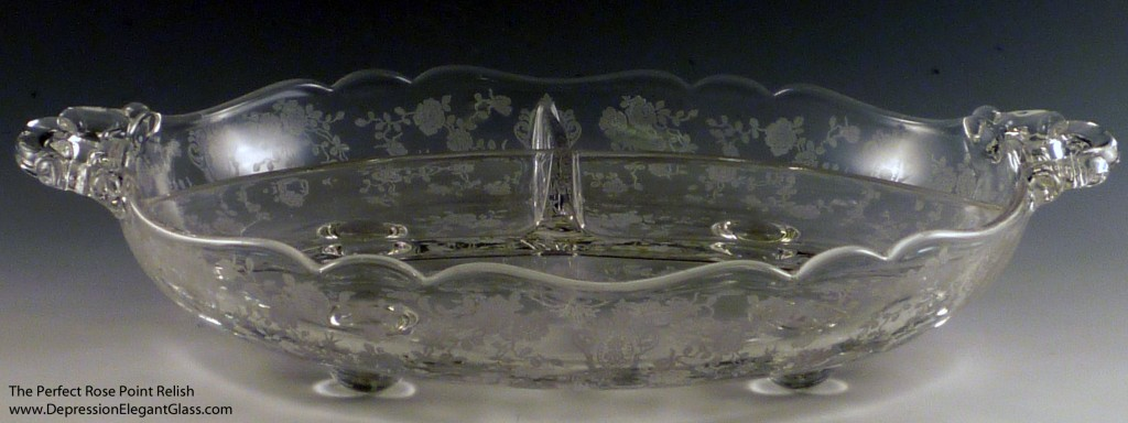 The Perfect Cambridge Rose Point Etched Crystal Relish Tray
