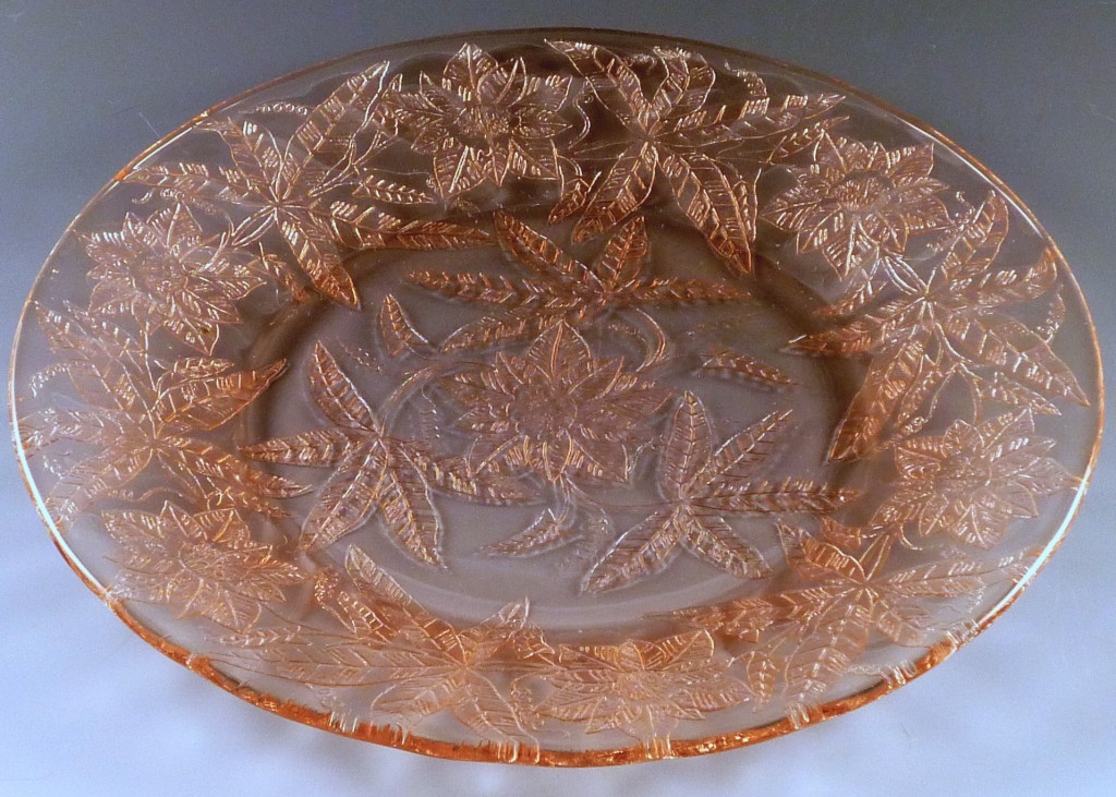 Floral Poinsettia Pink Depression Glass Dinner Plate Jeannette Glass