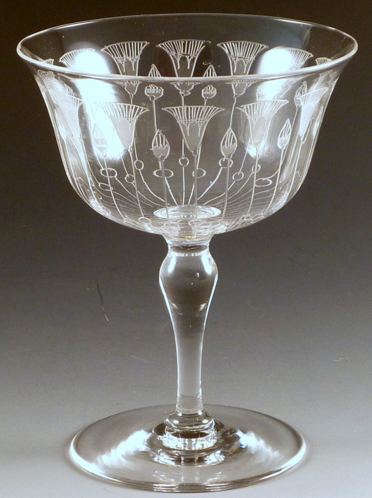 Dorflinger Lotus Etched Crystal Tall Sherbet