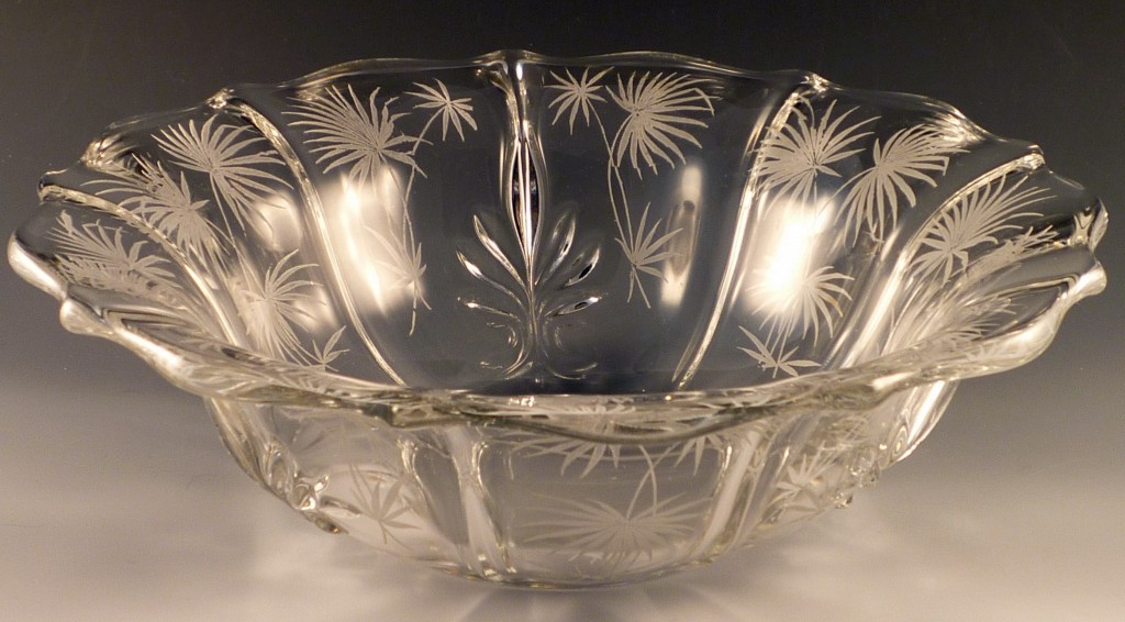 Fostoria Lido Etched Crystal Flared Console Bowl