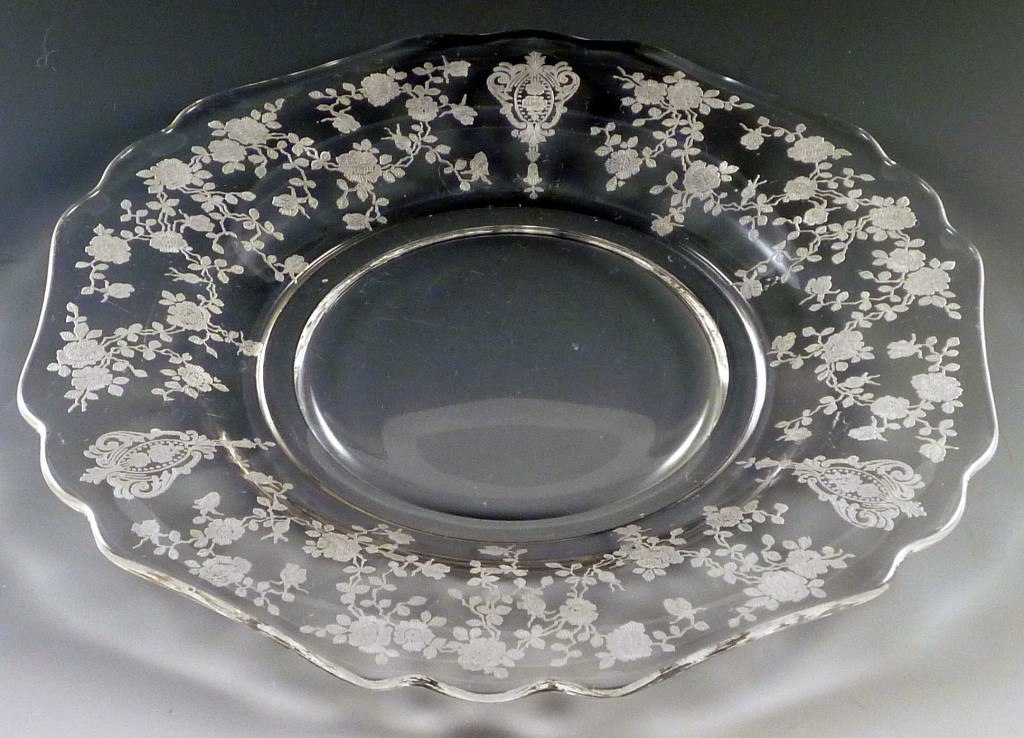 Cambridge Rose Point Etched Crystal 3400 Plate