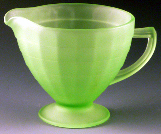Block Optic Green Depression Glass Satin Creamer