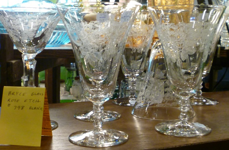 Bryce Rose Etched Crystal Goblets