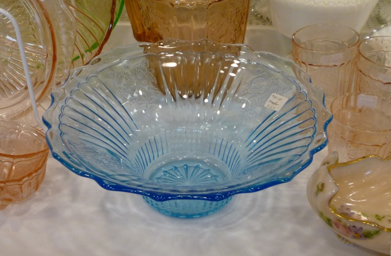 Mayfair Blue Depression Glass Console Bowl