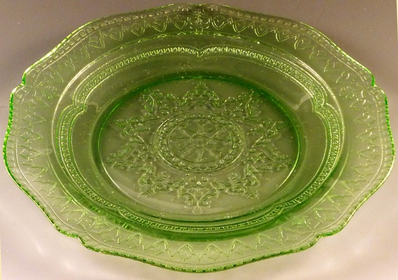 Patrician Spoke Green Depression Glass Plate