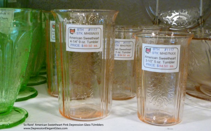 American Sweetheart Pink Depression Glass Tumblers at Show