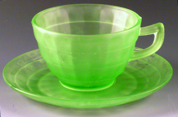 Block Optic Green Satin Cup and Saucer
