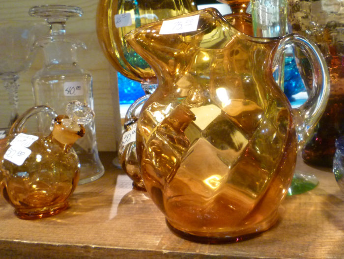Cambridge Amber Pitchers - Small Tilt Jug & Gyro Optic Thirties Premiums at the November 2017 Dearborn Depression Glass Show