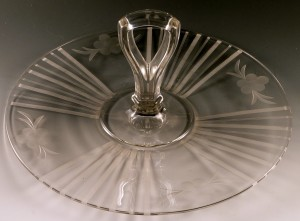 Classic Vintage Crystal Depression Glass Center Handled Server