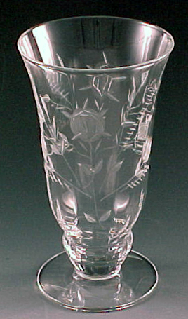 Floral Rose Cut Footed Tumbler