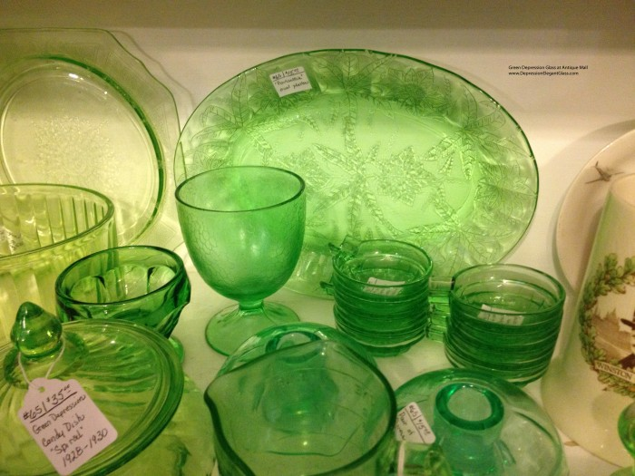 Green Depression Glass at Antique Mall March 2014