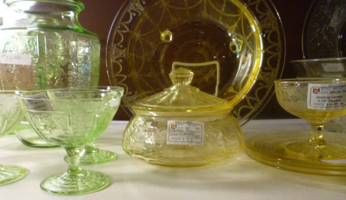 Hocking Princess Green and Cameo Yellow Depression Glass Lorrie Kitchen Antiques November 2017 Dearborn Show