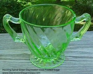 Spirals and Swirls – Hocking Spiral Green Depression Glass