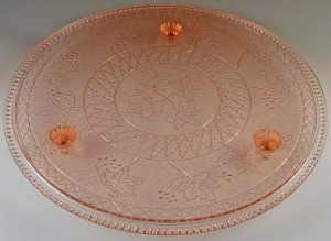 Exciting Find – Rare Maple Leaf Cake Plate from US Glass – Pink Depression Glass